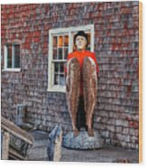 Statue Of Fisherman Holding Cod Peggy's Cove Wood Print