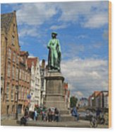 Statue Of Jan Van Eyck Beside The Spieglerei Canal In Bruges Wood Print