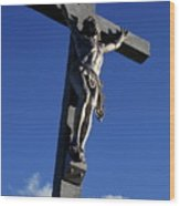 Statue Of Jesus Christ On The Cross Wood Print by Sami Sarkis