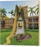 Statue Of, King Kamehameha The Great Wood Print
