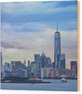 Statue Of Liberty And Manhattan Wood Print