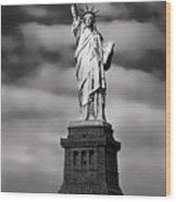 Statue Of Liberty At Dusk Wood Print