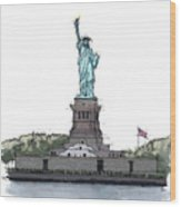 Statue Of Liberty, New York Sketch Wood Print