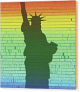 Statue Of Liberty Rainbow Wood Print