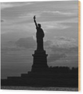 Statue Of Liberty, Silhouette Wood Print