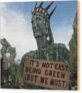 Statue Of Liberty Street Puppet At Political Demonstration Wood Print