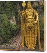 Statue Of Murugan Wood Print by Adrian Evans