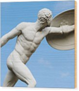 Statue Of Nude Man With Shield And Dagger Wood Print
