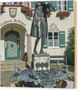 Statue Of Young Wolfgang Amadeus Mozart In St. Gilgen, Austria Wood Print