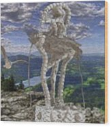 Statue On The Rocks  Wood Print