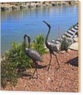 Statueque Cranes Wood Print