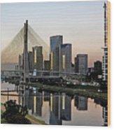 Stayed Bridge And Modern Sao Paulo Skyline Wood Print by Carlos Alkmin