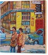 Ste. Catherine Street Montreal Wood Print