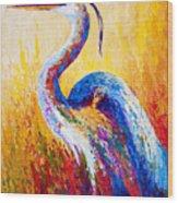 Steady Gaze - Great Blue Heron Wood Print