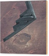 Stealth Over The Arizona Meteor Crater Wood Print