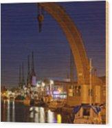 Steam Crane And Cranes, Bristol Harbour Wood Print