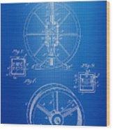 Steam Engine Blueprint Wood Print