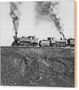 Steam Engines Pulling A Train Wood Print