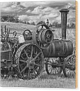 Steam Powered Tractor - Paint Bw Wood Print