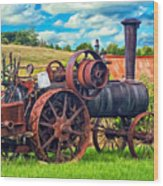 Steam Powered Tractor - Paint Wood Print