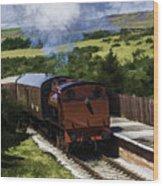 Steam Train 2 Oil Painting Effect Wood Print