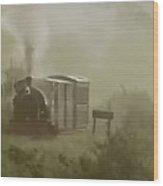 Steam Train In The Mist Wood Print