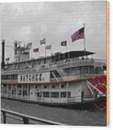 Steamboat Natchez Black And White Wood Print