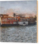 Steamboat On The Nile Wood Print