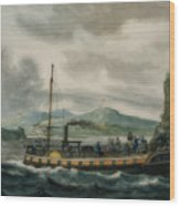 Steamboat Travel On The Hudson River Wood Print