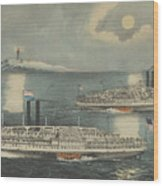 Steamboats Passing At Midnight On Long Island Sound Wood Print