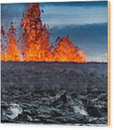 Steaming Lava And Plumes Wood Print