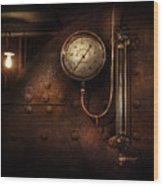 Steampunk - Boiler Gauge Wood Print by Mike Savad