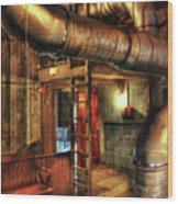 Steampunk - Where The Pipes Go Wood Print