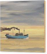 Steamship Freighter Heading Towards The Ocean Wood Print