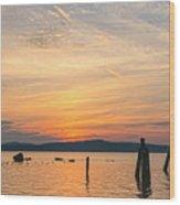 Steamy Hudson River Sunrise Wood Print