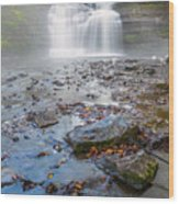 Steamy Morning At Pixley Falls Wood Print
