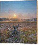 Steamy Sunrise In Yellowstone Wood Print