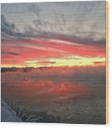 Steamy Winter Sunset Wood Print
