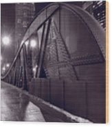 Steel Bridge Chicago Black And White Wood Print