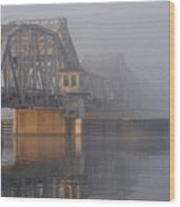Steel Bridge In Fog Wood Print