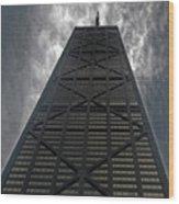 Steel Grey Skyrise Chicago Wood Print