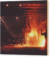 Steel Mill--china Wood Print