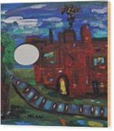 Steel Mill Nocturne Wood Print