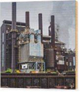 Steel Mill Wood Print