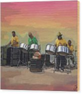 Steel Pan Players Antigua Wood Print