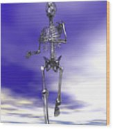 Steel Running Skeleton On Wet Sand Wood Print