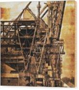 Steelmill Boatdock Cranes Detroit Wood Print