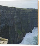 Steep Sheer Sea Cliff's Known As The Cliff's Of Moher Wood Print
