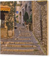 Steep Street In St Paul De Vence Wood Print
