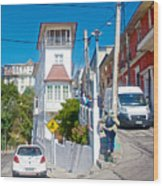 Steep Streets Up The Hills In Valparaiso-chile   Wood Print